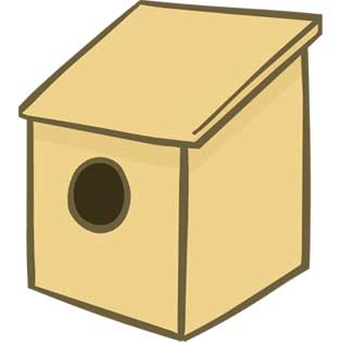 Nest Box A with slanted roof and overhang
