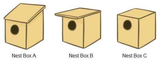 3 different nest boxes, labeled A, B and C. All three boxes have a round hole in a box. In Nest Box A, the roof of the box slopes down towards the entry hole. In Nest Box B, the roof hangs over the entry hole, forming an overhang to protect the entry hole. In Nest Box C, the roof is flat and fits the box with nothing hanging past the walls of the box.